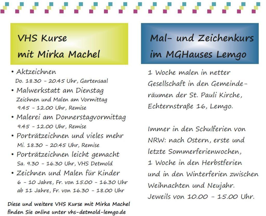 Malkurse und Zeichenkurse von Mirka Machel, Atelier MEWA